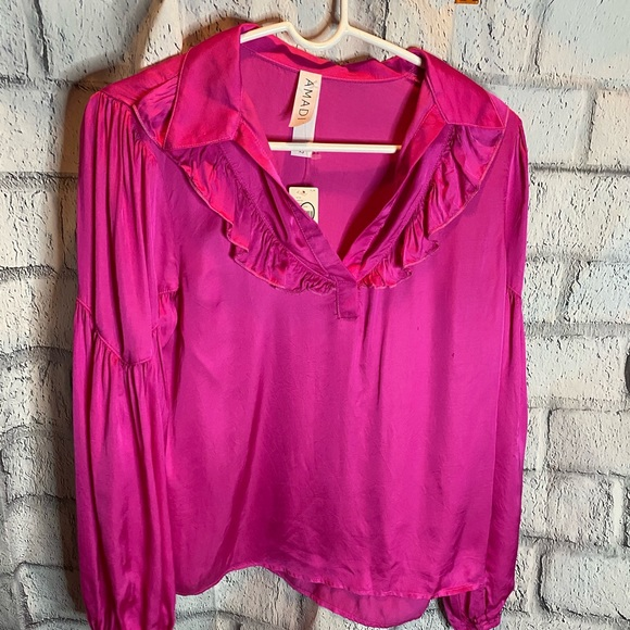 Anthropologie by AMADI pink blouse. Size XS